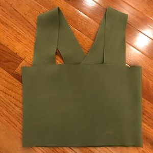 LF green square neck bandage crop top